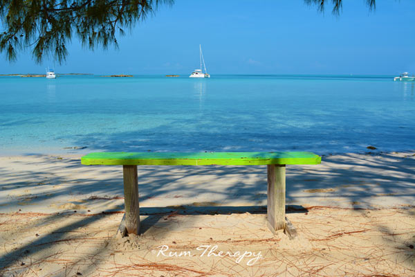Bench on the beach - copyright Rum Therapy