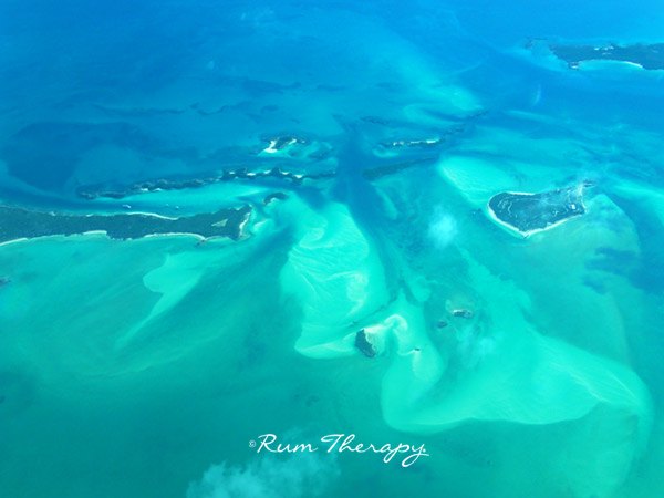 Exumas from the airplane - copyright Rum Therapy