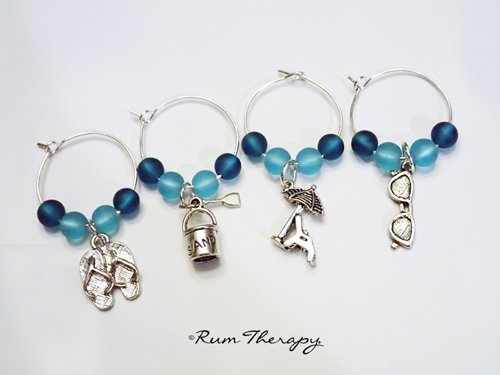 Beach Wine Glass Charms - Rum Therapy