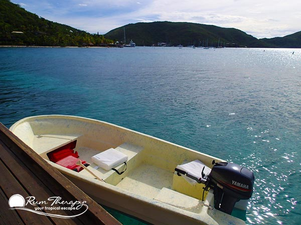 Dinghy in North Sound - copyright Rum Therapy